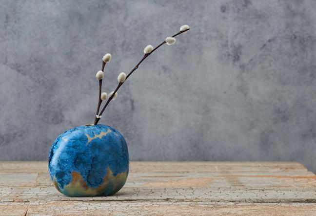 Blue Crystal ceramics skye zerafa zen ikebana vase